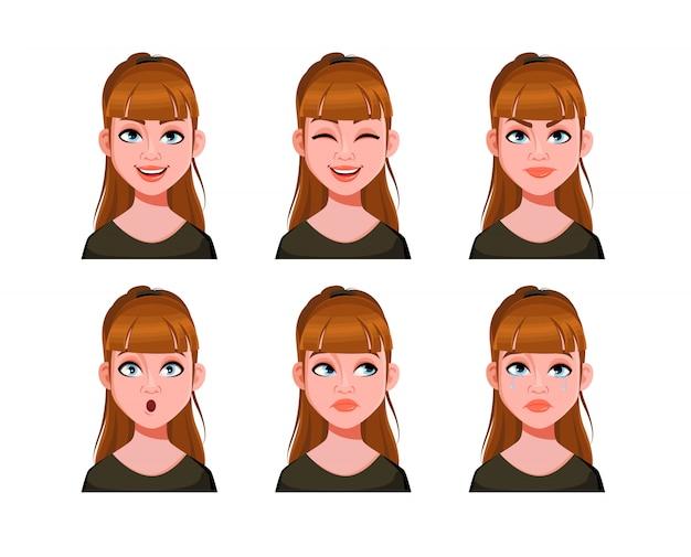Emozioni di ragazza carina. espressioni facciali di donna