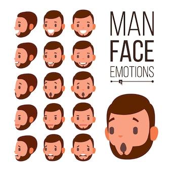 Emozioni di uomo vettoriale. ritratti di giovani volti maschili. tristezza, rabbia, rabbia, sorpresa, shock