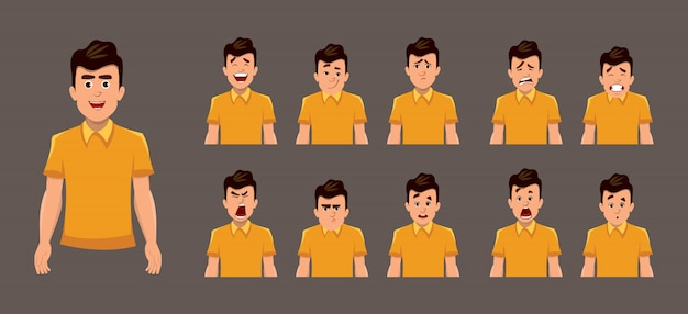 Emozioni facciali del giovane ragazzo o foglio di espressione