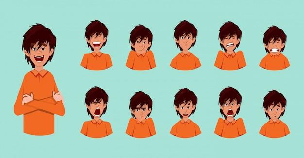 Emozioni facciali del ragazzo sveglio o foglio di espressione