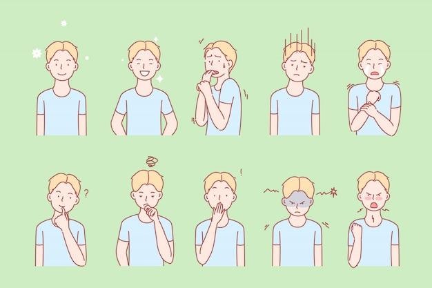 Emozioni per bambini ed espressioni facciali impostate