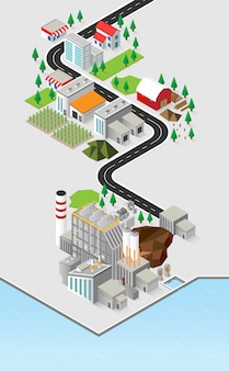 Energia da biomassa, centrale a biomassa con grafica isometrica