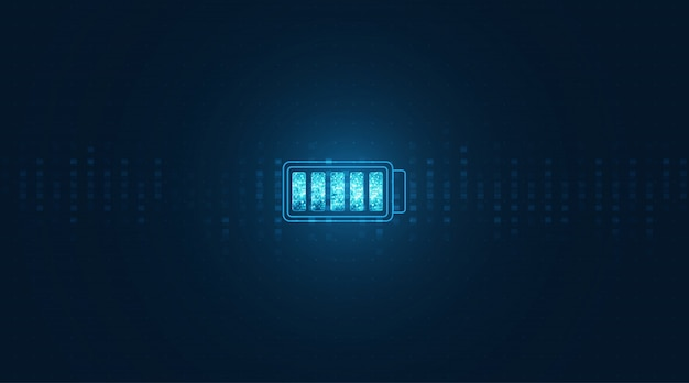 Energia elettrica della batteria astratta e concetto dell'alimentazione elettrica. icona batteria su sfondo digitale.