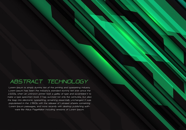 Energia leggera geometrica del circuito verde su fondo futuristico nero.