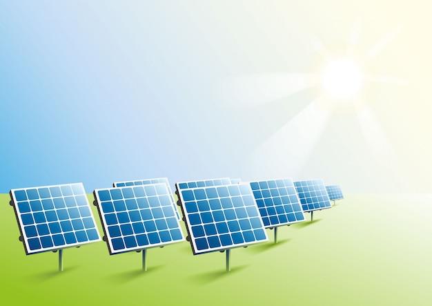 Energia solare. pannelli solari in campo