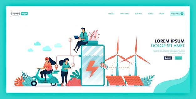 Energia verde ed ecologica risparmio batteria ed energia verde