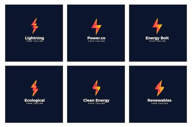 Energy bolt power logo templates