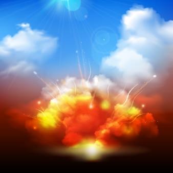 Enorme esplosione giallo arancione, scoppiando nel cielo nuvoloso blu con raggi del sole che irradia