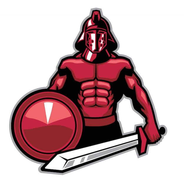 Enorme mascotte dei gladiatori muscolari con grande spada e scudo