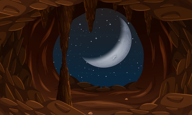 Entrata della caverna con la luna cresente