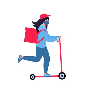 Epidemia di coronavirus. la ragazza delle consegne in una maschera protettiva trasporta cibo su uno scooter. spedizione gratuita