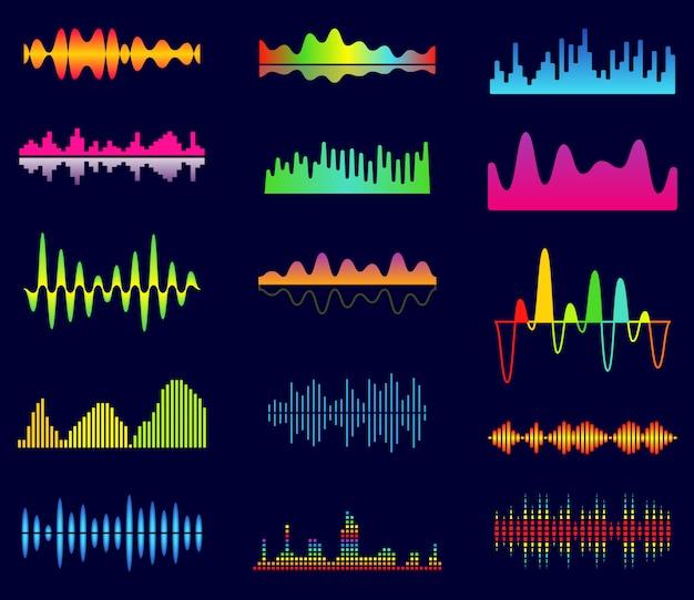 Equalizzatore musicale, onde analogiche audio, frequenza audio da studio, forma d'onda del lettore musicale