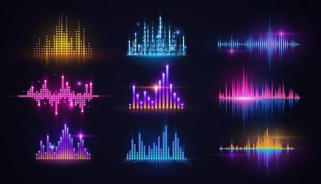 Equalizzatori al neon di onde sonore di musica, tecnologia audio