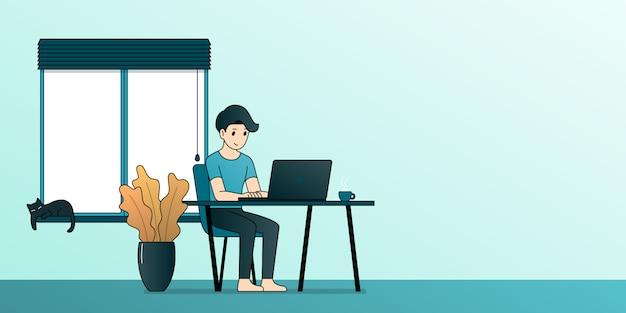 Equipaggi il lavoro di seduta con il computer portatile a casa, progettazione piana dell'illustrazione del fumetto del profilo.