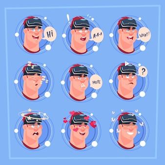 Equipaggi il volto differente emoji maschio che indossa l'espressione facciale dell'avatar dell'icona dell'emozione dei vetri di emozione virtuale 3d