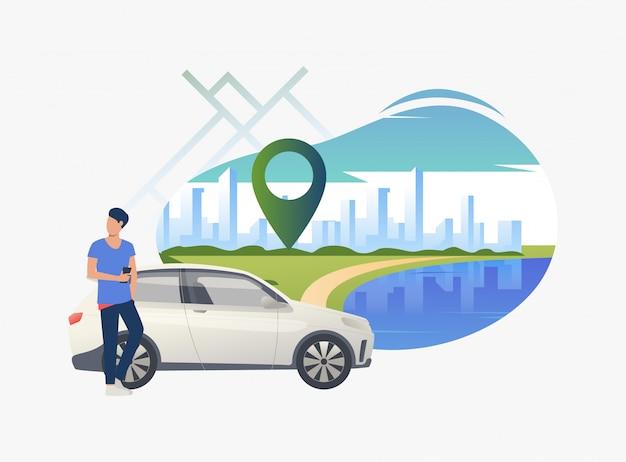 Equipaggi l'automobile facente una pausa con paesaggio urbano nella priorità bassa