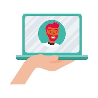 Equipaggi l'avatar sul computer portatile nella progettazione di video chat, nella conferenza online di chiamata e nell'illustrazione di vettore di tema della webcam