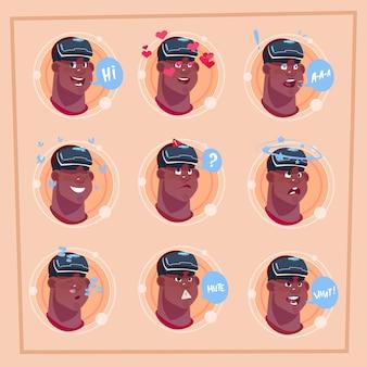 Equipaggi l'emoji maschio afroamericano del fronte che indossa il viso di avatar dell'icona di emozione dei vetri virtuali 3d