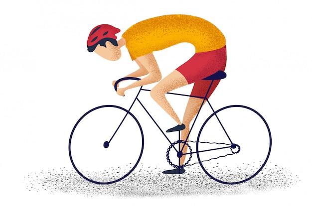 Equipaggi la bici di guida che cicla per la forma fisica su fondo bianco. personaggio dei cartoni animati