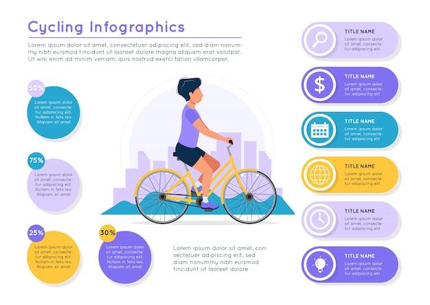 Equipaggi la bici di guida con il paesaggio della città, elementi variopinti di dati differenti