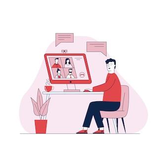 Equipaggi la conversazione tramite l'illustrazione online di vettore di videoconferenza