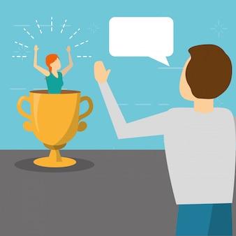 Equipaggi la donna parlante sul trofeo, stile piano