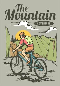 Equipaggi la guida della bicicletta della montagna il giorno di estate con il bello paesaggio della montagna nella retro illustrazione di vettore degli anni 80