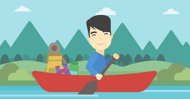 Equipaggi la guida nell'illustrazione di vettore del kajak.