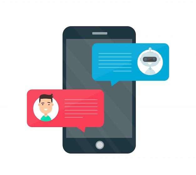 Equipaggi la persona che chiacchiera sul cellulare con il robot del bot di chiacchierata.