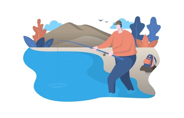 Equipaggi la pesca diritta facendo uso di rod nell'illustrazione piana della natura del fiume