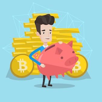Equipaggi la tenuta del porcellino salvadanaio con un segno del bitcoin.