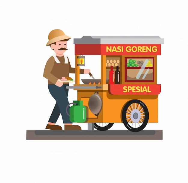 Equipaggi la vendita dell'alimento tradizionale indonesiano della via di nasi goreng in carretto nell'illustrazione piana del fumetto isolata