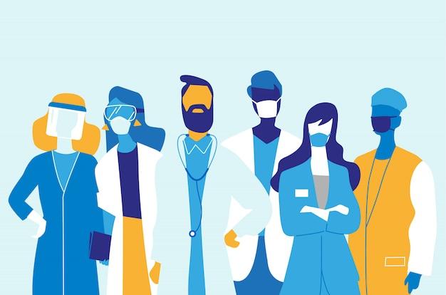 Equipe medica, medici e infermieri che indossano maschere