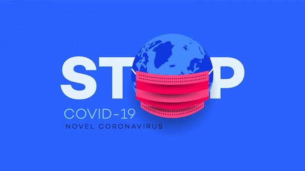 Erath in maschera. ncov concettuale (sars-cov-2, covid-19, coronavirus)