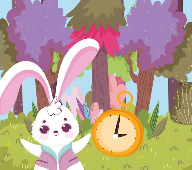 Erba della foresta degli alberi del paese delle meraviglie, del coniglio e dell'orologio