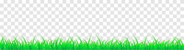 Erba verde panoramica senza soluzione di continuità. illustrazione del fumetto di vettore per piè di pagina e design isolato.
