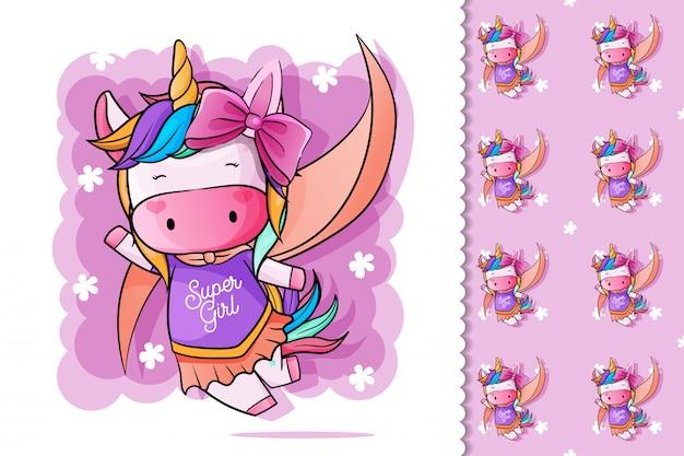 Eroe di unicorno carino