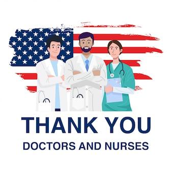 Eroi in prima linea, illustrazione di caratteri di medici e infermieri con la bandiera degli stati uniti d'america. vettore