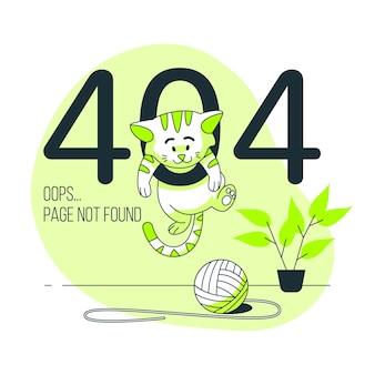 Errore 404 con un'illustrazione di concetto animale carino