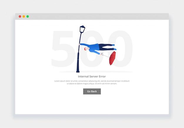 Errore 500. il moderno concetto di design piatto dell'uomo viene spazzato via da una tempesta per il sito web. modello di pagina degli stati vuoti