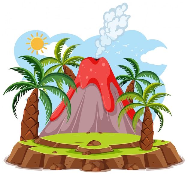 Eruzione del vulcano imposta stile cartoon isolato su sfondo bianco
