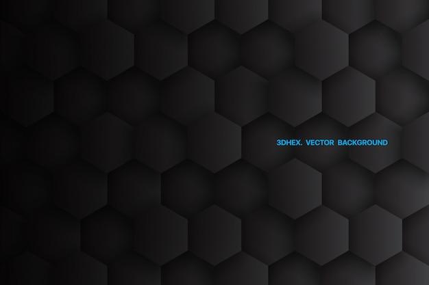 Esagoni 3d minimalista sfondo nero astratto