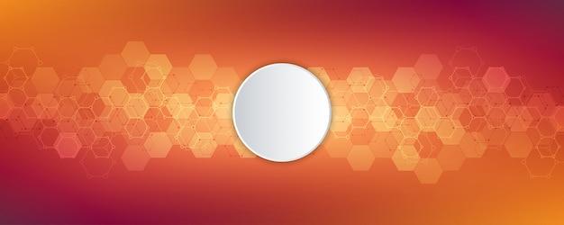 Esagoni astratti con sfondo bianco cerchio