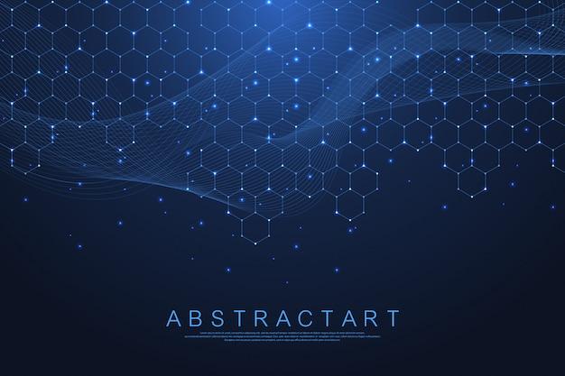 Esagoni astratto con forme geometriche. scienza, concetto di tecnologia.