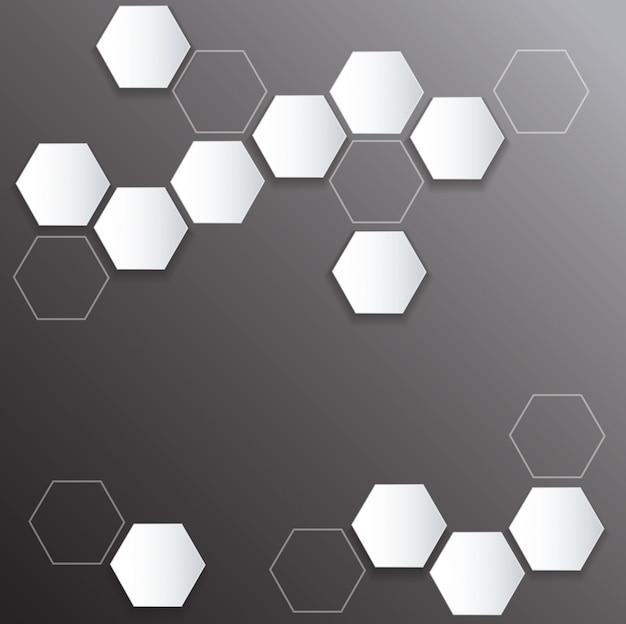 Esagono di metallo piatto e sfondo nero spazio
