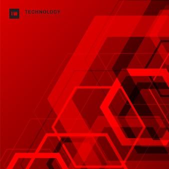 Esagono geometrico astratto forma rosso sfondo