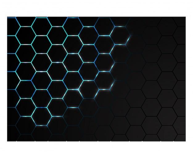 Esagono mesh blu energia luminosa in background tecnologia nera.