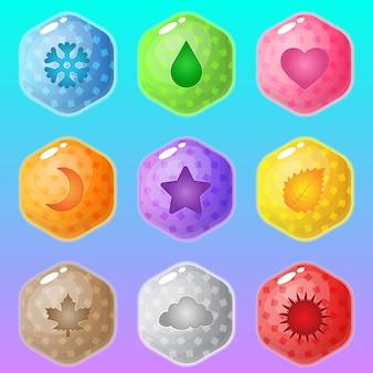 Esagono molti colori e in icone per stili di mare.