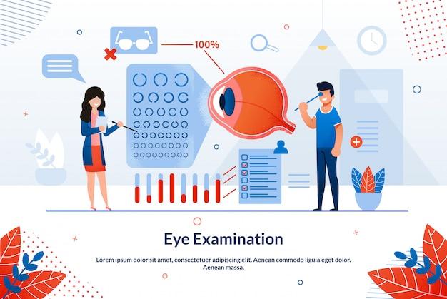 Esame degli occhi con iscrizione a poster informativo.