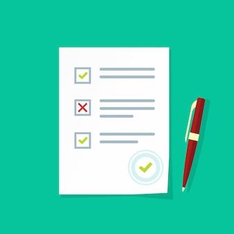 Esame dei risultati del test o sondaggio quiz foglio di carta vettoriale cartone piatto